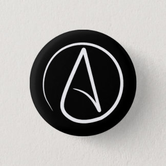Atheist symbol: white on black 3 cm round badge