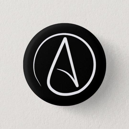 Atheist symbol: white on black 3 cm round badge