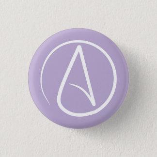 Atheist symbol: white on lavender 3 cm round badge
