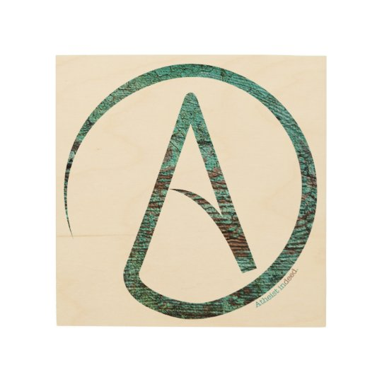 Atheist Symbol Wooden Wall Hanging Wood Print