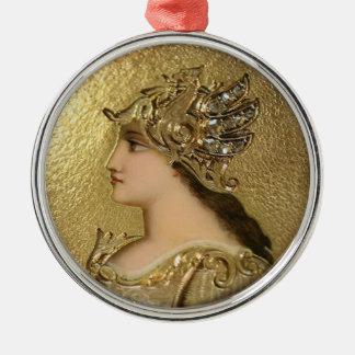 ATHENA PORTRAIT WITH GOLDEN HELMET AND GRYPHONS CHRISTMAS ORNAMENT