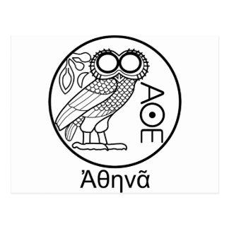 Athena's owl tetradrachm (Greek Font) Postcard