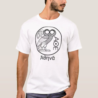 Athena's owl tetradrachm (Greek Font) T-Shirt