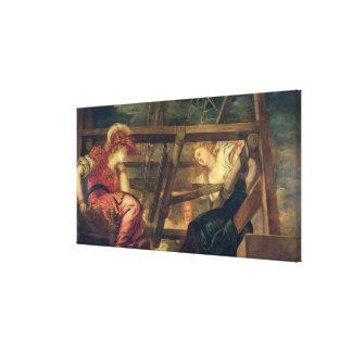 Athene and Arachne, c.1475-85 (oil on canvas) Canvas Print