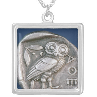 Athenian tetradrachma silver plated necklace