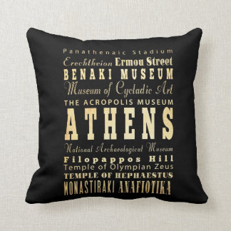 Athens City of Greece Typography Art Cushion