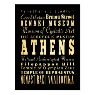 Athens City of Greece Typography Art Postcard
