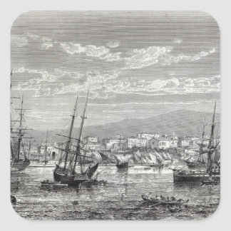 Athens: general view of the Piraeus, Square Sticker