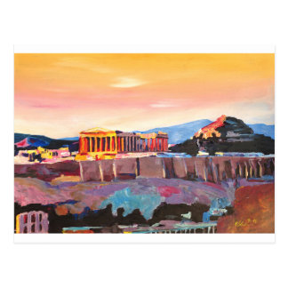 Athens Greece Acropolis At Sunset Postcard