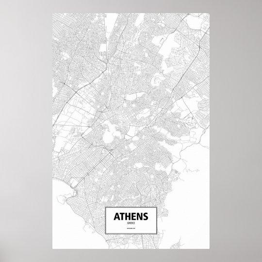Athens, Greece (black on white) Poster