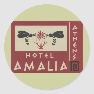 Athens Greece Hotel Amalia Vintage Travel Label