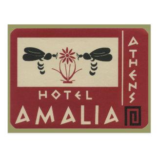Athens Greece Hotel Amalia Vintage Travel Label Postcard