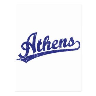 Athens script logo in blue postcard