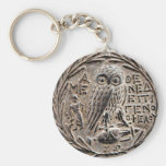 Athens Silver Tetradrachm Basic Round Button Key Ring