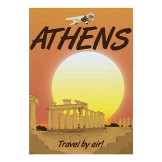 "Athens ""Travel by air"" Golden Sunset Poster"