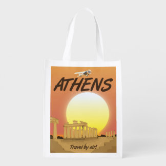 """Athens """"Travel by air"""" Golden Sunset Reusable Grocery Bag"""