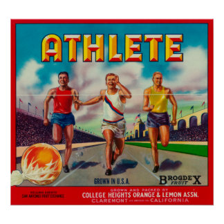 Athlete Brand Citrus Crate Label Poster