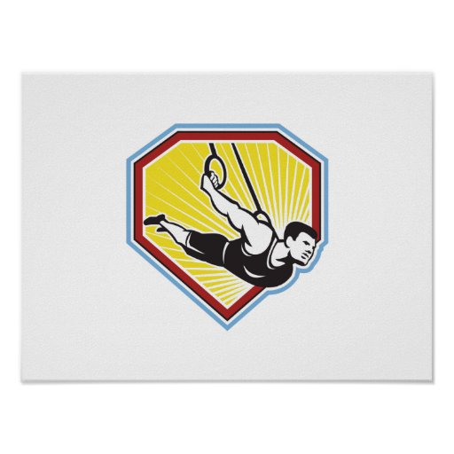 Athlete Muscle-Up Gymnastics Ring Retro Poster