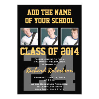 Athlete s Graduation Party Black and Gold Personalized Invitation