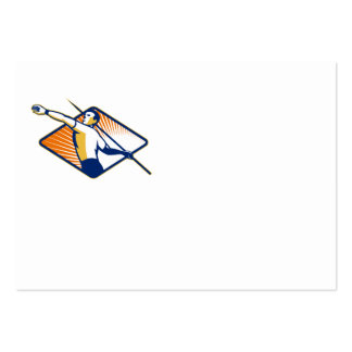 Athlete with Javelin Throwing Business Card Templates