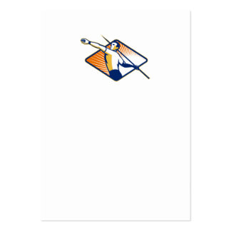 Athlete with Javelin Throwing Business Cards