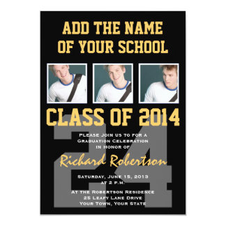 Athlete's Graduation Party Black and Gold Card