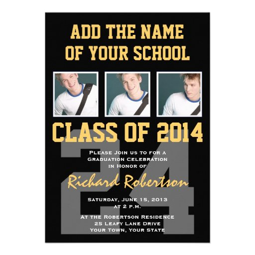 Athlete's Graduation Party Black and Gold Personalized Invitation