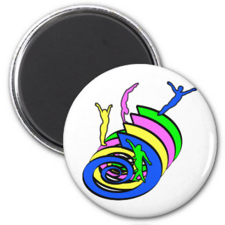 Athletes on swirls in multi color 6 cm round magnet