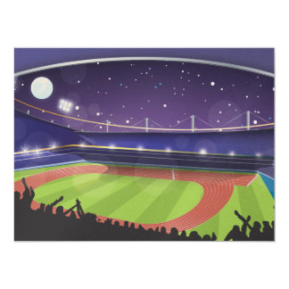 Athletics Stadium with fans 17 Cm X 22 Cm Invitation Card