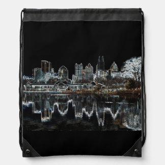 Atlanta Aglow City Skyline Drawstring Bag