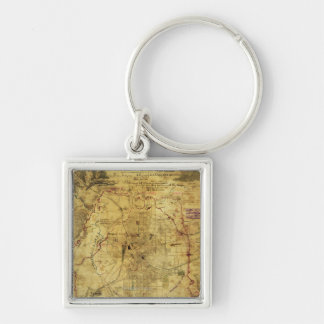 Atlanta Campaign - Civil War Panoramic Map 2 Silver-Colored Square Key Ring