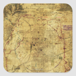 Atlanta Campaign - Civil War Panoramic Map 2 Square Sticker