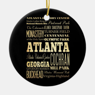 Atlanta City of Georgia State Typography Art Christmas Ornament