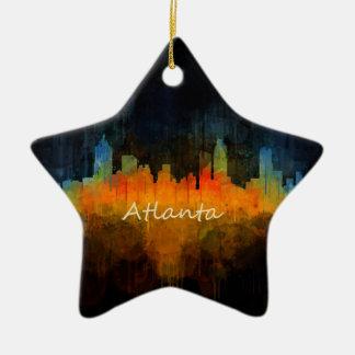 Atlanta City Watercolor Skyline v4 Dark Christmas Ornament