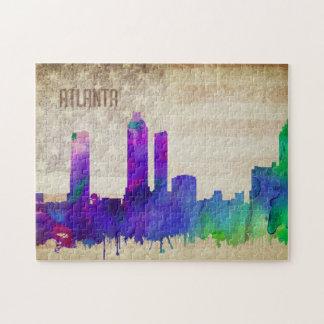 Atlanta, GA   Watercolor City Skyline Jigsaw Puzzle