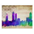 Atlanta, GA | Watercolor City Skyline Postcard