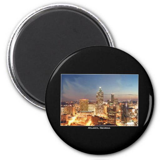 Atlanta, Georgia at Night - Beautiful Skyline 6 Cm Round Magnet