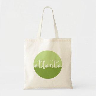 Atlanta, Georgia | Green Ombre Circle Budget Tote Bag