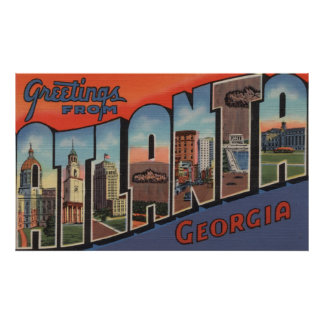 Atlanta, Georgia - Large Letter Scenes 2 Poster