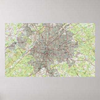 Atlanta Georgia Map (1981) Poster