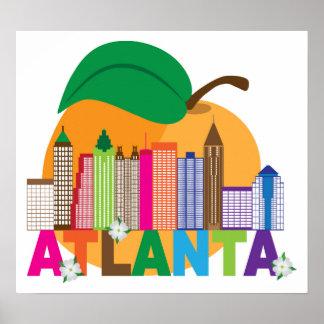 Atlanta, Georgia | Peach Skyline Poster