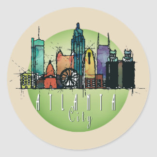Atlanta green skyline classic round sticker