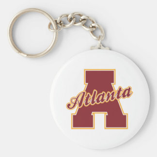 Atlanta Letter Basic Round Button Key Ring