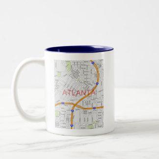 Atlanta Peachtree Road Map Two-Tone Coffee Mug