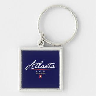 Atlanta Script Silver-Colored Square Key Ring