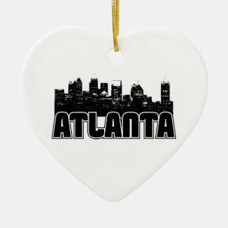 Atlanta Skyline Ceramic Heart Decoration