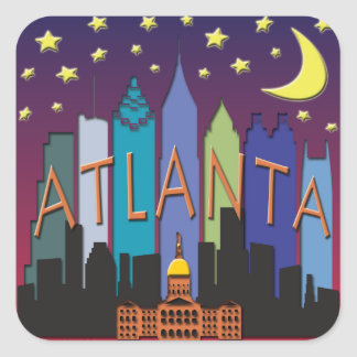 Atlanta Skyline mega color Square Sticker