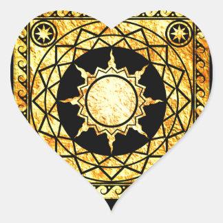 Atlantean Crafts Gold on Black Heart Sticker