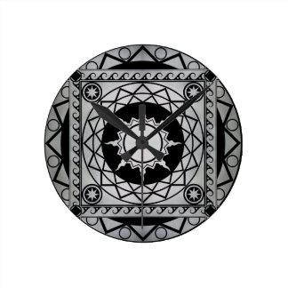 Atlantean Crafts Silver on Black Round Clock