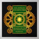 Atlantean Steamworks - Gold & Green on Black Poster